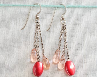 Beet-dyed mother of pearl and pink drop earrings