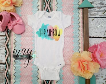 Baby Rainbow Bodysuit - Little Rainbow Baby Jumper - Hashtag Rainbow