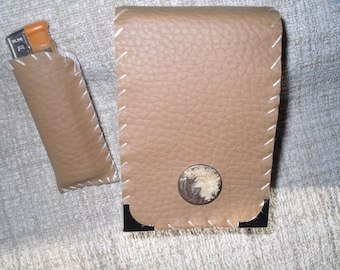 cigarette, faux leather case