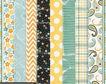 On Sale 50% Summer Sun, Pattern Tattered and Worn Papers, Digital Scrapbook Kit, Scrapbooking