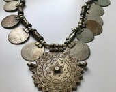 60s Necklace, Made in India, Silver, Coins, Ethnic, Tribal, Gypsy, Banjara, Primitive, Silver Coins, 1960s, Indian Coins, World Jewelry
