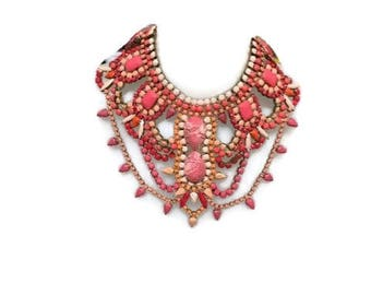 CORAL BLOSSOM  hand painted rhinestone super statement necklace