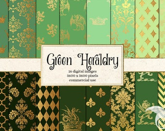Green and Gold Heraldic Digital Paper, Crowns, Dragons, Vintage Damask Heraldic Crest Backgrounds, Heraldry Pattern Instant Download