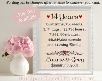14 years together 14th Anniversary Gift for Husband Wife Days Hours Minutes Seconds Gift for Husband Wife Gift Cotton Fabric (ana207-14)