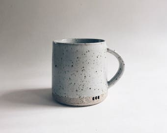 gray speckled mug, large pale grey stoneware + porcelain blend coffee cup, minimalist gray pottery mug, big recycled clay mug with speckles