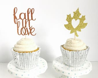 Fall in Love cupcake toppers/ fall Bridal Shower/ bridal Shower cake topper/ engagement party/ fall wedding/ set of 12