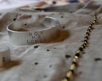 Metal stamped custom bracelet cuff, adjustable 1/2 inch