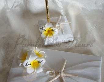 Guest book and penholder with plumeria flowers artificial customize sea theme