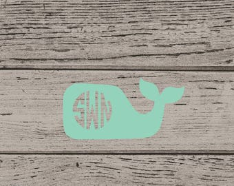 Whale Vinyl Decal, Whale Decal, Whale Sticker, Nautical Decal, Nautical Sticker, Preppy Whale, Preppy Whale Decal, Whale Car Decal