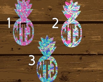 Pineapple Decal, Pineapple Sticker, Pineapple, Monogram Decal, Pineapple Monogram, Monogram, Lilly Pulitzer Decal, Lilly Pulitzer