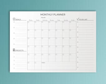 A3 Monthly Desk Planner Printable Planner Monthly Wall Calendar Minimalistic Calendar Black white Planner Family Calendar Instant Download