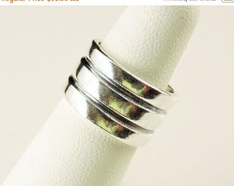 33% Off Christmas in July Size 5 Sterling Silver Wide Triple Ridge Band Ring