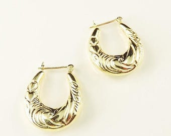 33% Off Christmas in July 14k Yellow Gold Textured Hollow Hoop Earrings