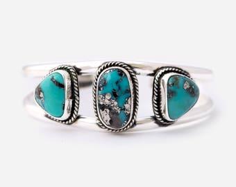 Pyrite + Campitos Turquoise Cuff Bracelet