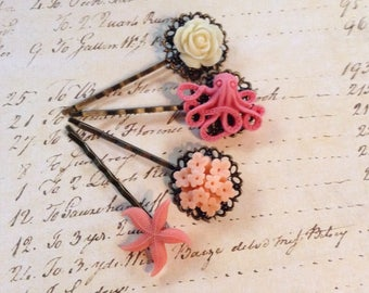 Peach, Coral And Ivory Floral And Sea Animal Hair Clips