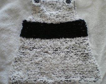 Robe002 - Robe / tunique noire et blanche