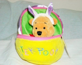 SALE! Disney Beanbag Plush Reversible Easter Pooh With Zipper Made in Europe Only/Embroidered Easter Pooh And Wearing Bunny Ears!