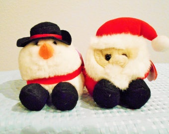 """PUFFKINS Christmas Editions By """"Swibco""""/""""Flurry"""" The Snowman And """"Ho Ho"""" The Santa Claus Both New With Tags/Part Of Beanbag Plush Collection"""