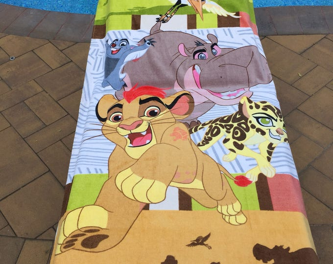 "Oversized 30"" x 60"" Lion King LION GUARD Kion Beach Towel - Personalized Beach Towel"