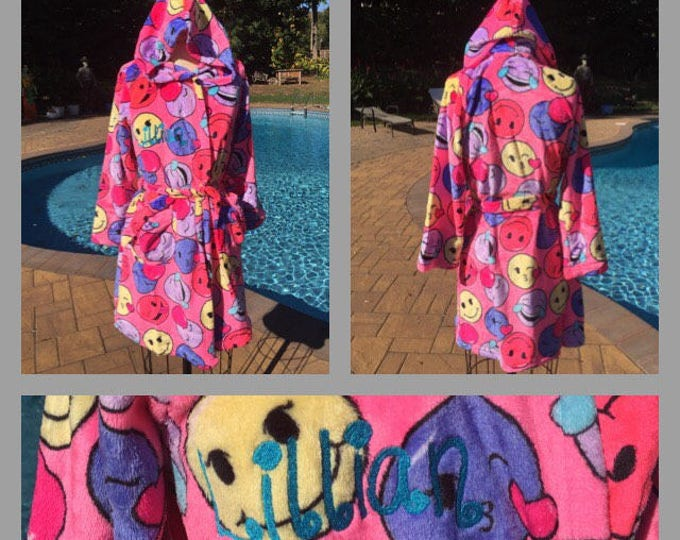 Girls Size 7-16 Emoji hooded Bath Robe - Personalized Monogrammed