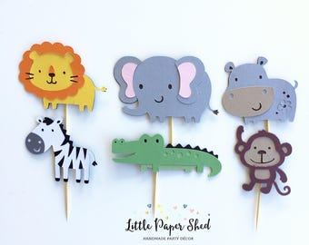 Handmade Cupcake Toppers - Jungle Safari Theme x 12