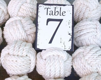 Coastal Wedding Knots cotton Rope 30 Table Number Holders for your Nautical Wedding Monkey Fist Rope Knots (w1)