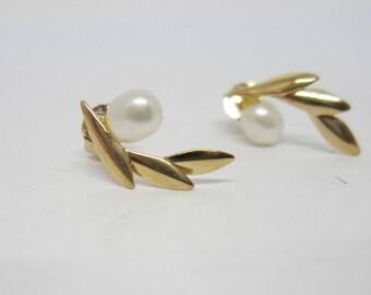 10k Gold Pearl Stud Earrings, Fresh Water Pearl Earrings, June Birthstone