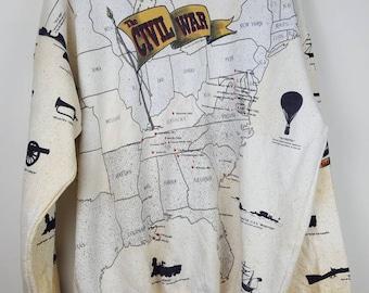 Vintage The Civil War America fullprint maps sweatshirt