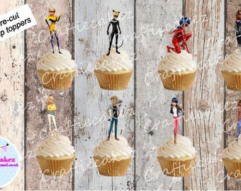 24 x Miraculous Ladybug Stand Up Cupcake Toppers