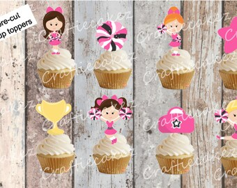 24 x Edible Pre Cut Cheerleader Stand Up Cupcake Toppers