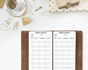 Savings Tracker Travelers Notebook - Wide size, Composition size - financial goals - save money - checkbook register - money goals
