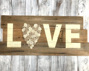Rustic Heart Love Sign - Valentines Day Gift -  Rustic Home Decor - Rustic Decor- Farmhouse Decor- Living Room Decor- Rustic Wood Sign