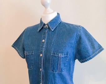 Vintage 1990s denim dress // button down dress