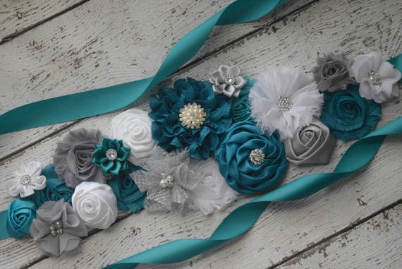 Maternity Sash, Teal white grey Sash , flower girl sash, flower Belt, maternity sash belt, blue sash