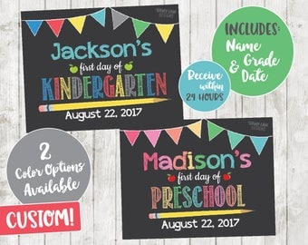 1st  Day of School Chalkboard, First Day of Preschool Sign, Back to School Chalkboard, 1st day of Pre-Kindergarten sign, back to school sign