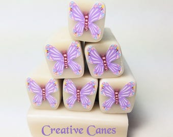 Lavender Butterfly Cane, Raw Polymer Clay Cane, Unbaked Clay Cane, Millefiori Clay Cane, Raw Butterfly Clay Cane, Craft Supply