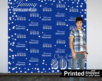 Congrats GRAD Personalized Photo Backdrop -Blue and Silver Photo Backdrop- Class of 2018 Photo Backdrop - Graduation Photo Booth Backdrop