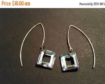 SALE Sterling Silver Earrings Square Pink Teal Crystal Dangle 925 Jewelry