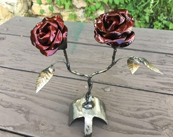 Twisted rose piece crimson black
