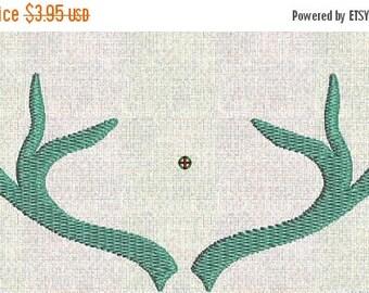 50 percent OFF Instant Download Embroidery Machine Pes Designs Antler Deer Frame Mod Elements  2 Sizes PES Format