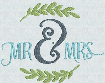 50 percent OFF Mr and Mrs /  Instant Download Embroidery Machine Pes Designs  2 Sizes PES / Wedding GIft / Bridal Shower / House Warming /