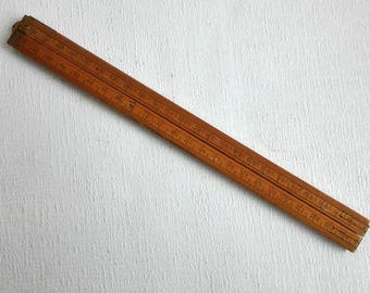 Vintage Folding Wooden Ruler Tool, Made in Holland 1950's