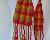 Handwoven Plaid Scarf in Red, Gold and Blue