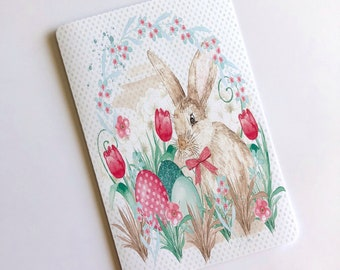 Spring Rabbit/Easter Bunny Eggs & Tulips Travelers Notebook Laminated Dashboard - CHOOSE B6 or POCKET size