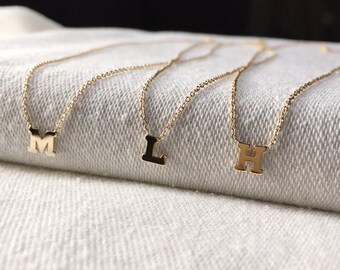 ON SALE 14k gold letter necklace