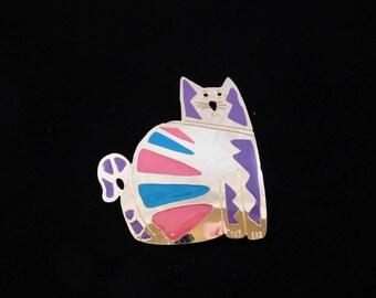 Enamel Cat Brooch by NP