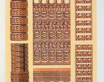 Owen Jones - The Grammar of Ornament - Stunning 1800s Lithograph - Savage Tribes, Tribal Art (P2)