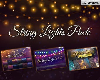 String Lights Pack, Wedding Lights, Party Lights, string lights clip art, wedding overlays, rustic string lights, rustic clip art