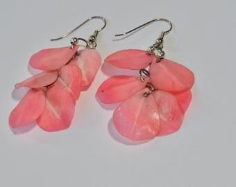 """Vintage Pink Flower Leaf Cluster Dangle Silver Tone Hook Earrings 2.75"""""""