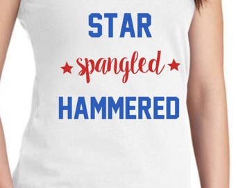 Fourth of July tank, July 4th tank, July 4th tee, Patriotic clothing, summer tank, red white and boozed tank, star spangled hammered tee